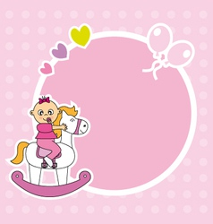 Girl riding a wooden horse vector image