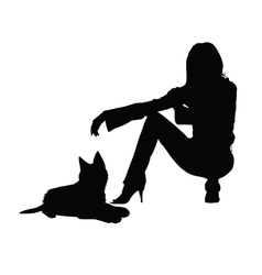 Girl with cat silhouette vector