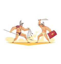 Gladiators cartoon composition vector