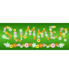 Glossy flower SUMMER letters on green vector image