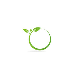 Green leaf abstract organic round logo vector