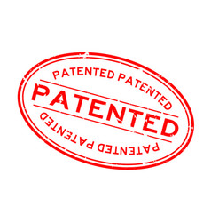Grunge red patented word oval rubber seal stamp vector