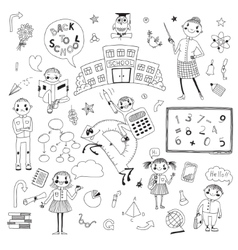 Hand drawn set for school design vector