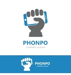 Hand with phone logo design template vector