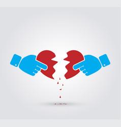 Hands breaking heart vector