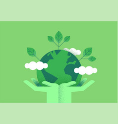 hands holding planet earth for environment care vector image
