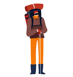 Hiker with trekking pole and camping gear in vector
