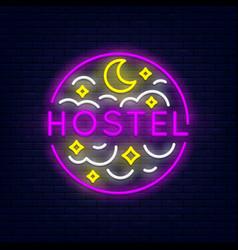 hostel neon banner vector image