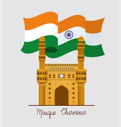 Indian mosque chaminar temple with flag vector