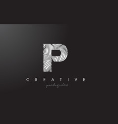Ip i p letter logo with zebra lines texture vector