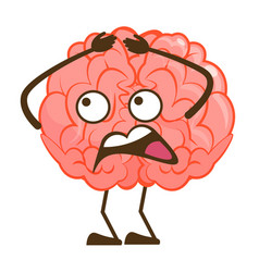 Isolated brain scared fleeing mascot character vector