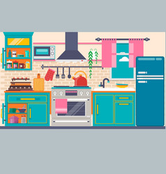 kitchen interior with furniture utensils food vector image