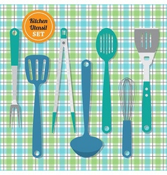 kitchen utensils icons set on blue and green plaid vector image