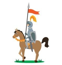 Knight on horseback with a spear vector
