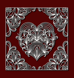 laser cutting square frame with floral design vector image