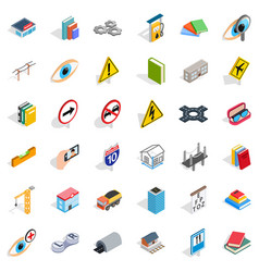 Lens icons set isometric style vector