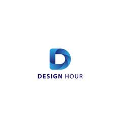 Letter d 3d blue colour technological logo vector