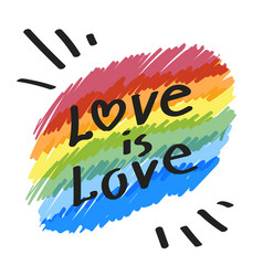 Lgbt community simbol love is love slogan on vector