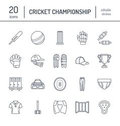 Line icons of cricket sport game Ball bat vector