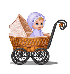 Little girl sitting in a vintage stroller isolated vector