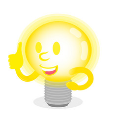 luminous lamp show thumb up vector image
