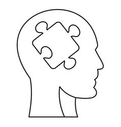 man head silhouette with puzzle piece icon vector image