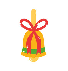 merry christmas gold bell bow decoration icon vector image