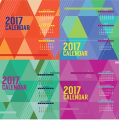 Modern Abstract 2017 Printable Calendar Starts vector image
