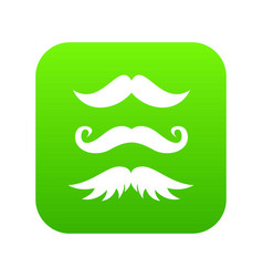 Moustaches icon digital green vector