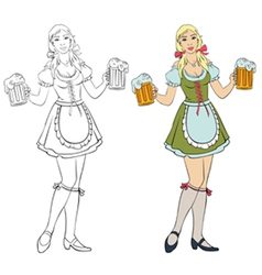 Oktoberfest - girl with beer vector image