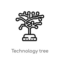 Outline technology tree icon isolated black vector