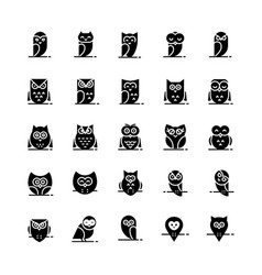 owl icons collection in flat style vector image