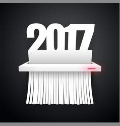Paper 2017 is cut into shredder dark vector