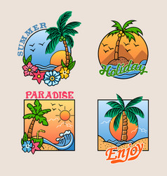 Paradise palm tree cheerful badge collection vector