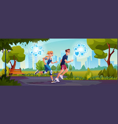 people running in park with smart watch cityscape vector image