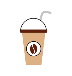 Plastic coffee cup drink with dome lid and straw vector