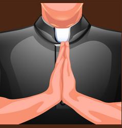 praying priest hands vector image