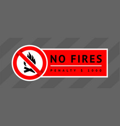 prohibition sign no fires trendy label ready to vector image