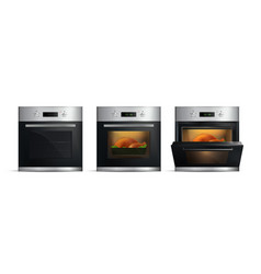 realistic kitchen ovens set vector image