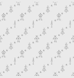 Robot doodles pattern vector