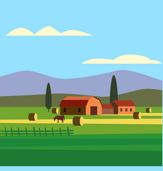 Rural farm landscape field country house cows vector