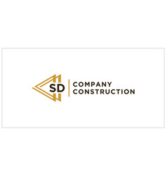Sd triangle connect logo design vector