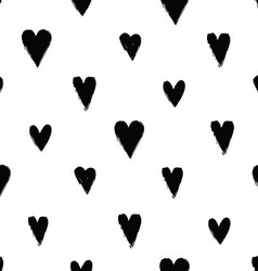 Seamless pattern with ink hearts vector image