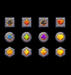set precious symbols playing cards vector image