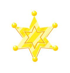 Sheriff marshal golden cartoon glossy star vector