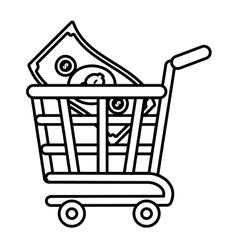 shopping cart online bill money outline vector image