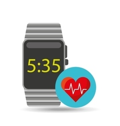Smart watch technology with heart pulse vector