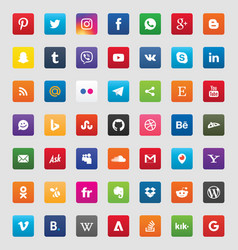 social media 49 icons set vector image