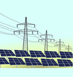 solar panels and transmission vector image