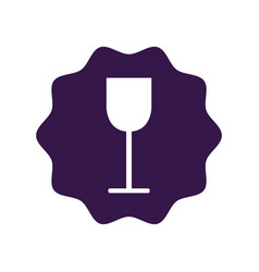 Sticker tasty wine glass icon vector
